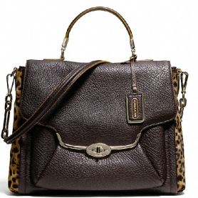 MADISON SADIE FLAP SATCHEL IN MIXED HAIRCALF