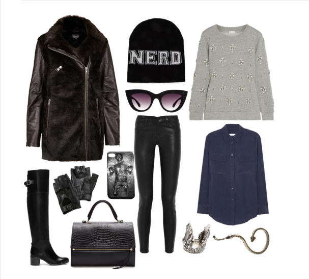 Coat: TopShop $178, boots: Zara $189, gloves: Carolina Amato $45, iPhone case: James Hannah $15, bag: Zara, $249, beanie: Forever21 $7, shades: ASOS $45, jeans: J.Brand $230, Sweter: J.Crew $170, blouse: Equipment $210,  ring: James Hannah $10, earcuff: James Hannah $10