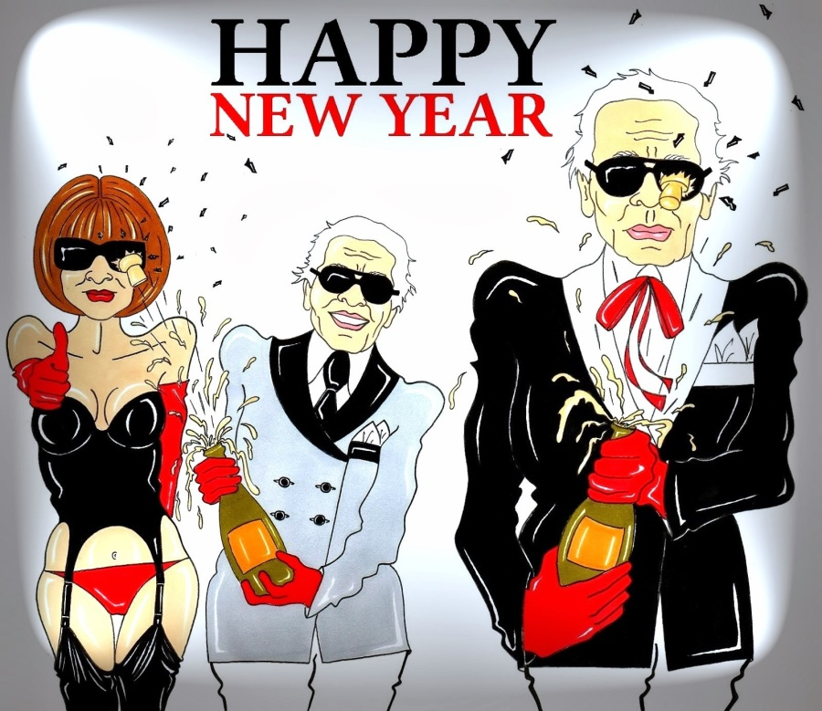 Anna Wintour and Karl Lagerfeld Happy New Year ART Fashion Luxury cartoon Illustration Icon Satire Paintin Legend Portrait Chanel Humor Chic by aleXsandro Palombo